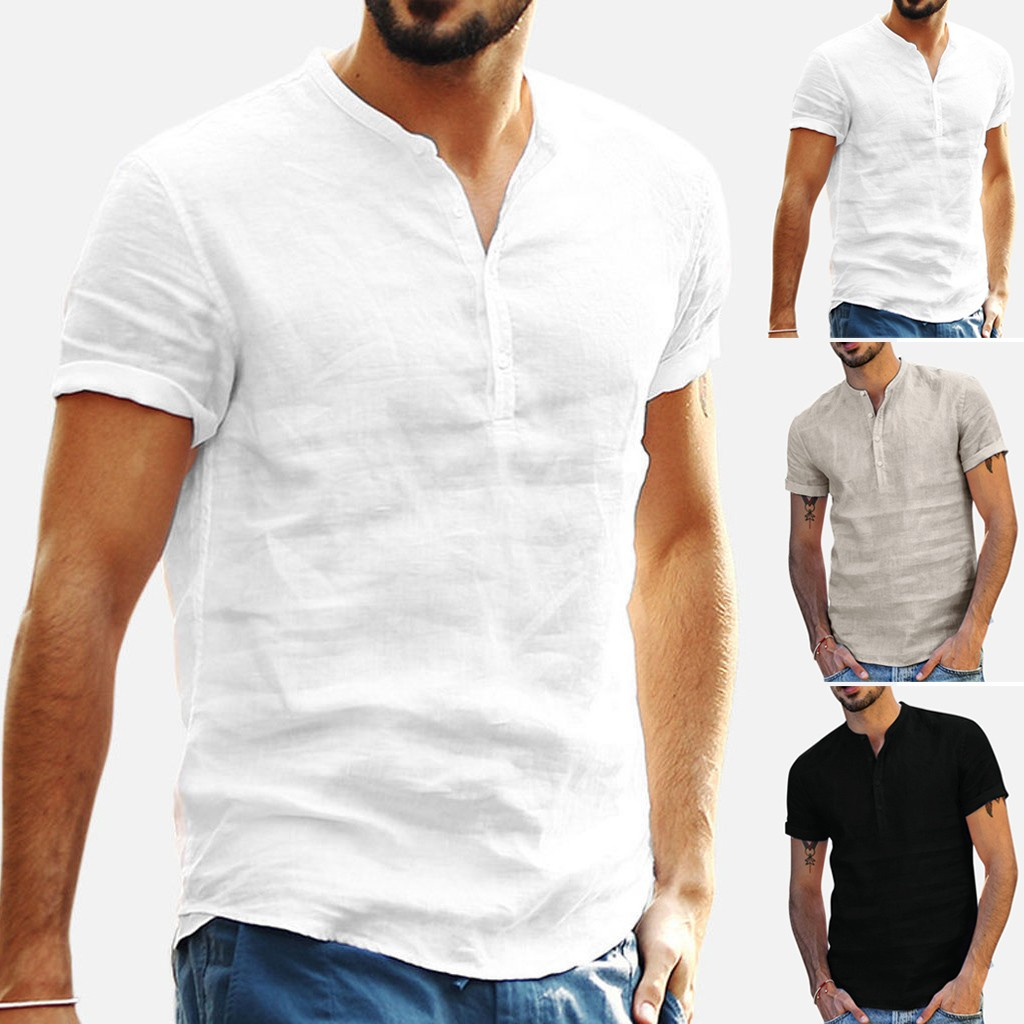 Men's Baggy Cotton Linen Soid Color Short Sleeve Retro T Shirts Tops Blouse
