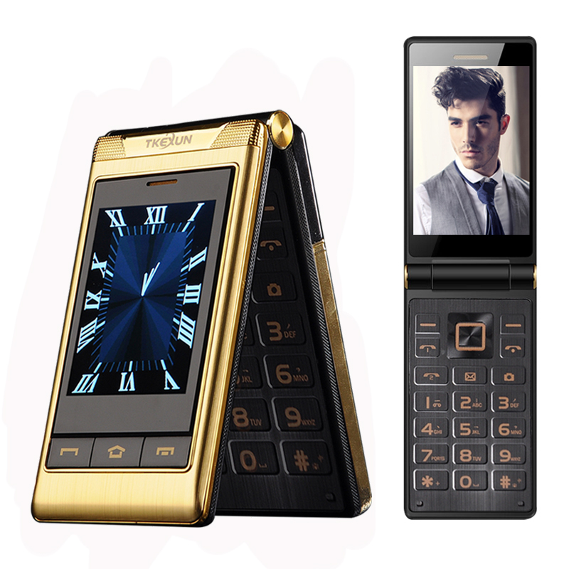 "TKEXUN G10 3.0"" Double Dual Screen Dual SIM Long Standby Touch Screen FM Senior Phone Flip Mobile Phone For Old People P063"