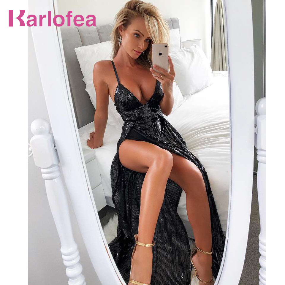 Karlofea Thign פיצול נצנצים נשים מקסי שמלה ללא שרוולים שמלת שמלות תלבושת סקסי מועדון ערב מפלגה ללא משענת צוואר עמוק V שמלת