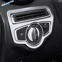Lapetus Auto Styling Head Lights Switch Button Cover Trim For Mercedes Benz GLC X253 GLC300 2016 - 2019 Matte Carbon Fiber ABS lapetus accessories for toyota camry 2018 2019 matte carbon fiber abs front head light switches button molding cover kit trim