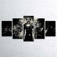 HD Impreso Marco de Fotos Lienzo Home Decor 5 Unidades Modulares Espacio muerto Negro Blanco Pintura de Arte Abstracto de La Pared Del Cartel del Jueg PENGDA