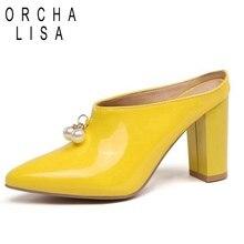 408123518b ORCHA LISA Mulheres calcanhar robusto Bombas Sapatos peals saltos altos  mulas Bico fino Vestido de festa