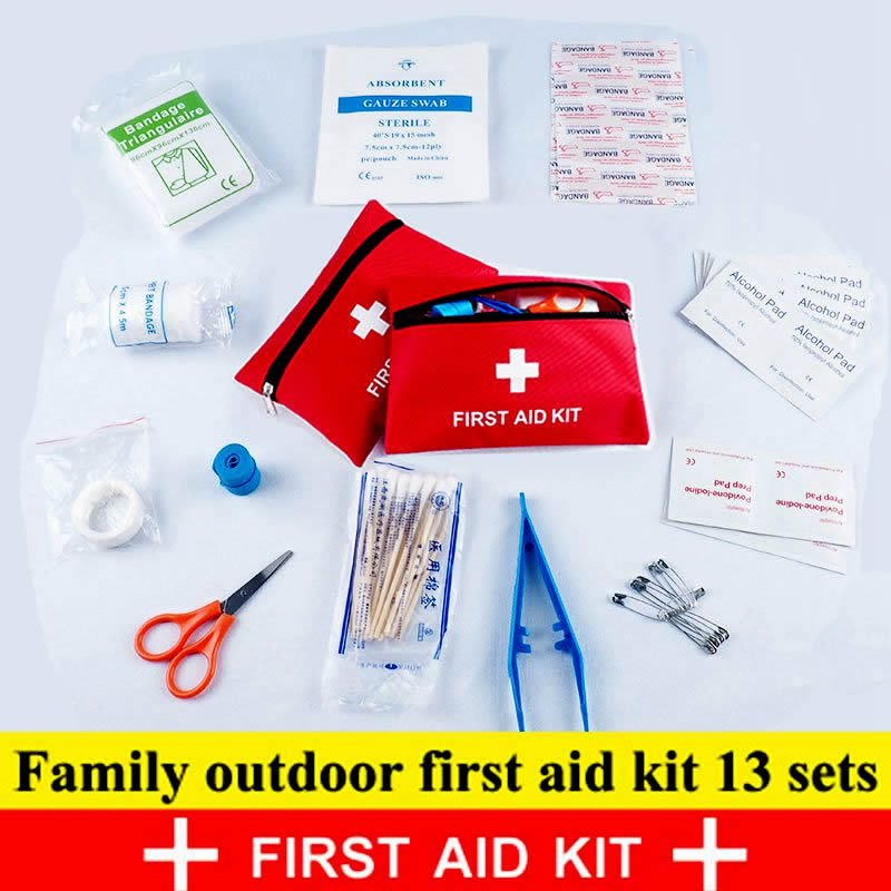 13Pcs Set Travel Accessories First Aid Kit Outdoor Waterproof Family MINI Safe Emergency Sport Survival Medical Treatment Kit