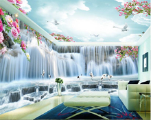 beibehang Fashion advanced aesthetic decorative 3d wallpaper huge waterfall crane HD full house backdrop wall papers home decor