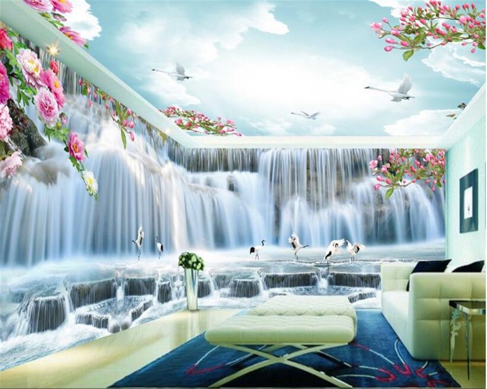 beibehang Fashion advanced aesthetic decorative 3d wallpaper huge waterfall crane HD full house backdrop wall