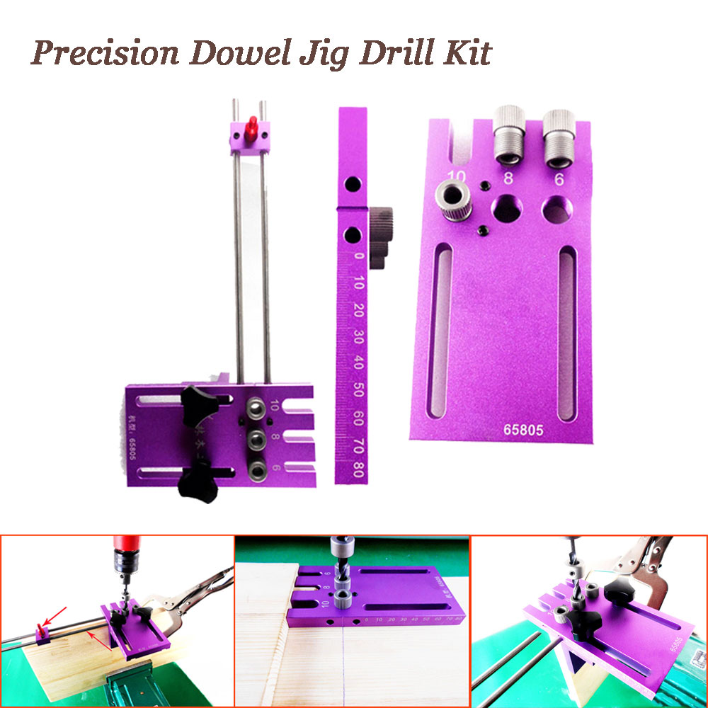 Accuracy Dowel Jig Drill Kit 6mm 8mm 10mm Woodworking Dowelling Hole Locator Tool Set pocket hole jig woodwork guide repair carpenter kit woodworking tool