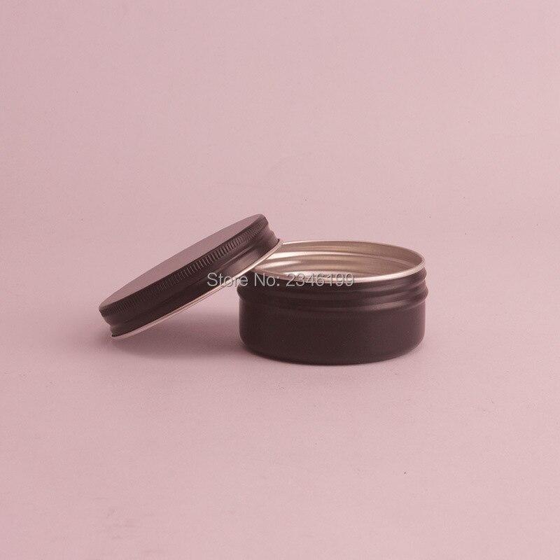 50G 50ML Black Aluminum Jar Matte Black Tin Can Cosmetic Cream Packing Metal Box Aromatherapy Wax