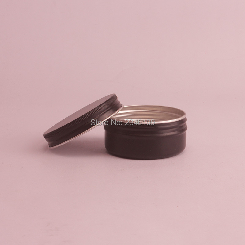 50G 50ML Black Aluminum Jar Matte Black Tin Can Cosmetic Cream Packing Metal Box Aromatherapy Wax Pot Container 50pcs/lot-in Refillable Bottles from Beauty & Health    1