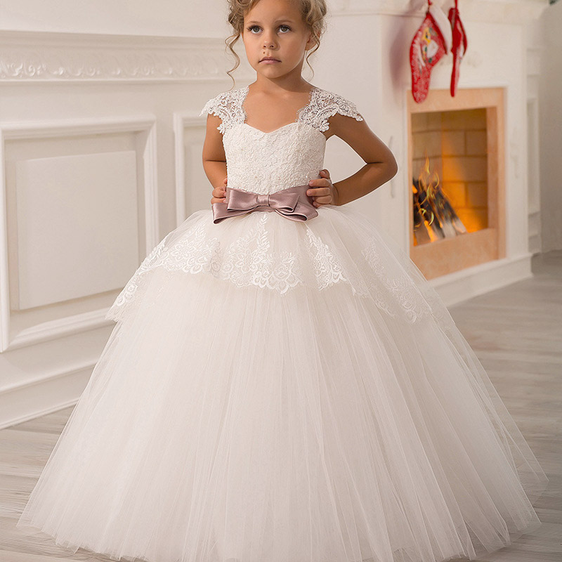 Big bow flourished   flower   lace evening wedding   girl     dresses   first communion princess   dress   baby costume children tutu clothing