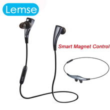 Fashion Lemse F11 Bluetooth earphone Stereo Wireless headset For SAMSUNG iPhone HTC Xiaomi Mp3 Smart Magnet Control