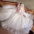 2016 Luxo Catedral Trem Do Vestido de Casamento vestido de Baile Do Marfim Do Vintage Lace Manga Comprida vestidos de Noiva Lace Up Vestidos de noiva Vestido De Noiva