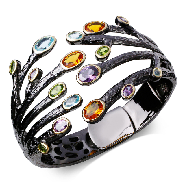63 mm Diameter black Bangle bracelet black gold plated w/ color cz Bangles new design Free shippment
