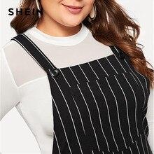 Plus Size Black Striped Straps Mini Pinafore Dress Women  Preppy Style A-Line Short Dresses