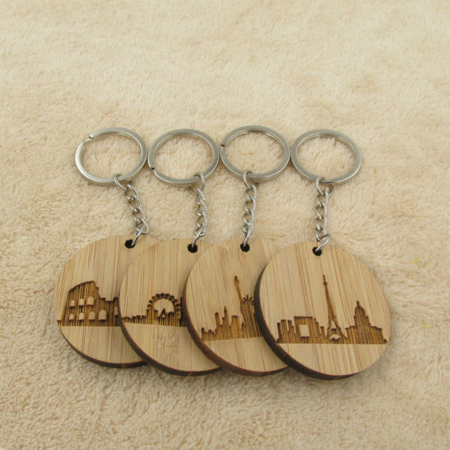 Fashion City Skyline Keychain Wooden Keyring Paris London Rome New York  Keyring New Home Gift 1a5bbf517c59