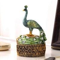 European decorations box, decorative jewelry box, peacock resin make up table box, peacock jewelry storage box