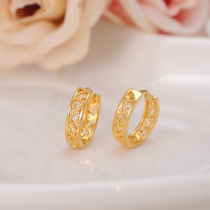 2pairs Cheapest Hoop Earring Girls Dubai Gold Jewellery Turkish
