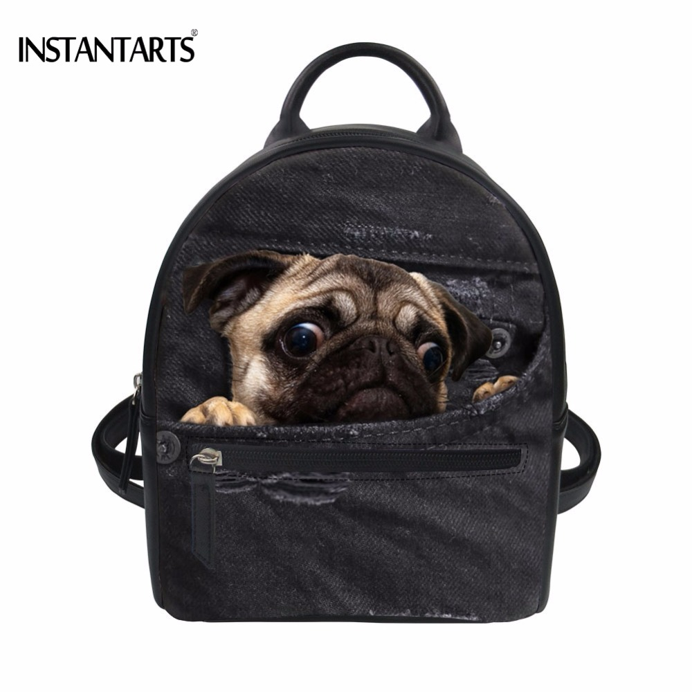 9ca9b650aa3 Detail Feedback Questions about INSTANTARTS Funny 3D Fake Denim Pug Dog Cat  Printed Women PU Leather Mini Backpacks Fashion Multi function Daypacks  Student ...