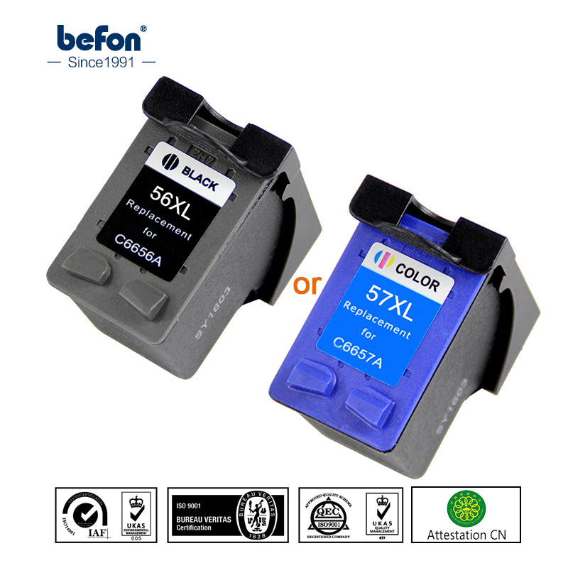 Befon Black 56 Or Color 57 XL  Ink Cartridge Replacement For HP 56 57 HP56 HP57 Deskjet 2100 220 450 5510 5550 5552 7150 7350