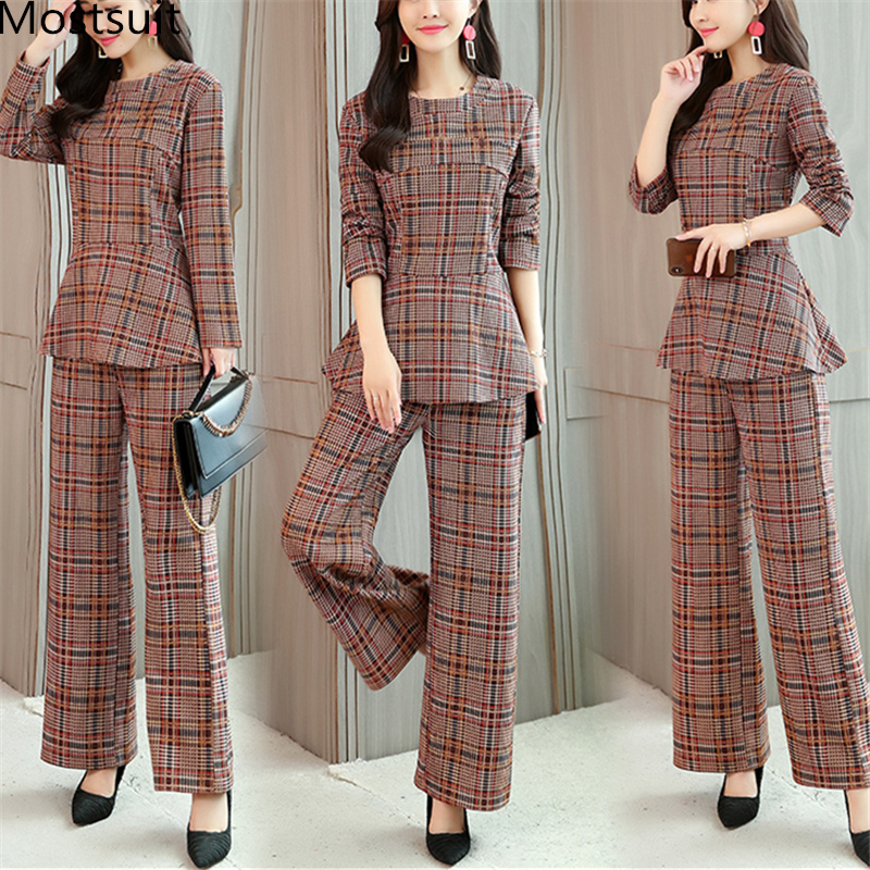 Plaid Two 2 Piece Sets Suits Women Long Sleeve Tunic Tops And Wide Leg Pants Sets Office Elegant Spring Autumn Women's Sets 2019 31
