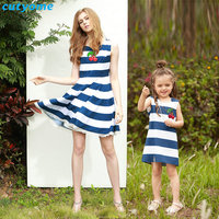 Cutyome Mother Daughter Dresses Family Look Matching Outfits Striped Sleeveless Kids Girls Clothes Summer Dress For