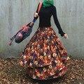 Мода Длинные Белье Печати Юбки Женщин Толстый Хлопок Юбки Saias Юбки