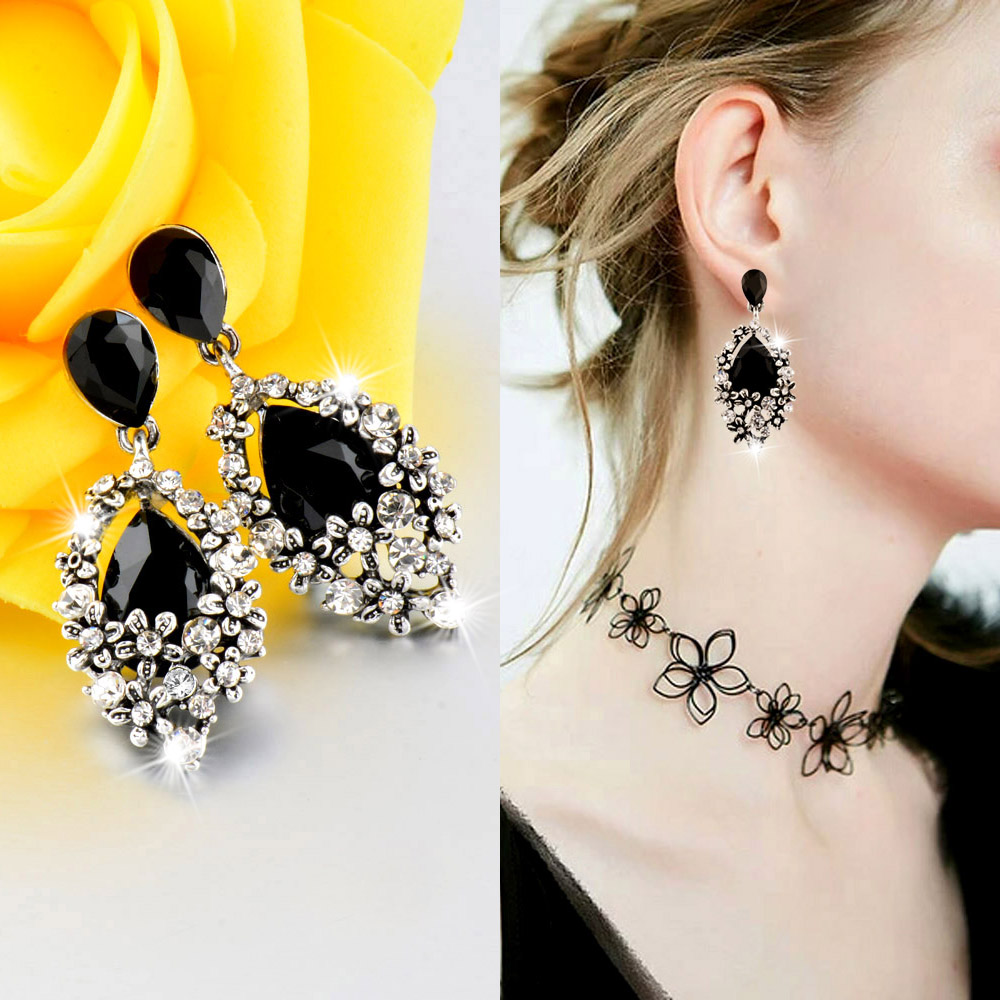 SINLEERY Luxury Vintage Black Cubic Zircon Water Drop Earrings For Women Antique Silver Color New Fashion Es599 SSC