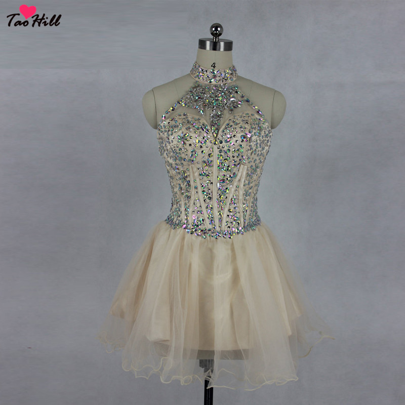 TaoHill   Cocktail   Party   Dress   Ladies Winter High Neck   Dress   A-line Beads Champagne   Cocktail     Dresses