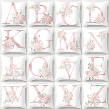 English Alphabet Pillow Cover Decorative Cushion Cover 45*45cm Letter Pillow Case Sofa Chair Car Cushion Cover Floral Pillowcase shabby chic car decorative cushion cover retro truck mini bus game chair pillow cover 45cm pillow case home decor sofa bedding