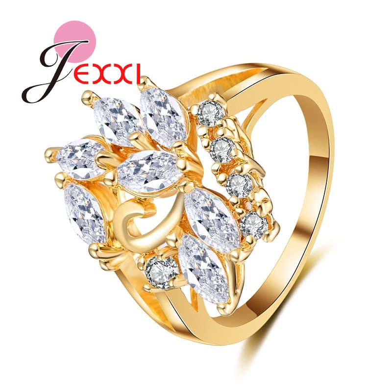 JEXXI Women Gold Jewelry Rings Hot Sale Special Plant Design For Party Finger Accessory Quality Wedding Engagement Rings