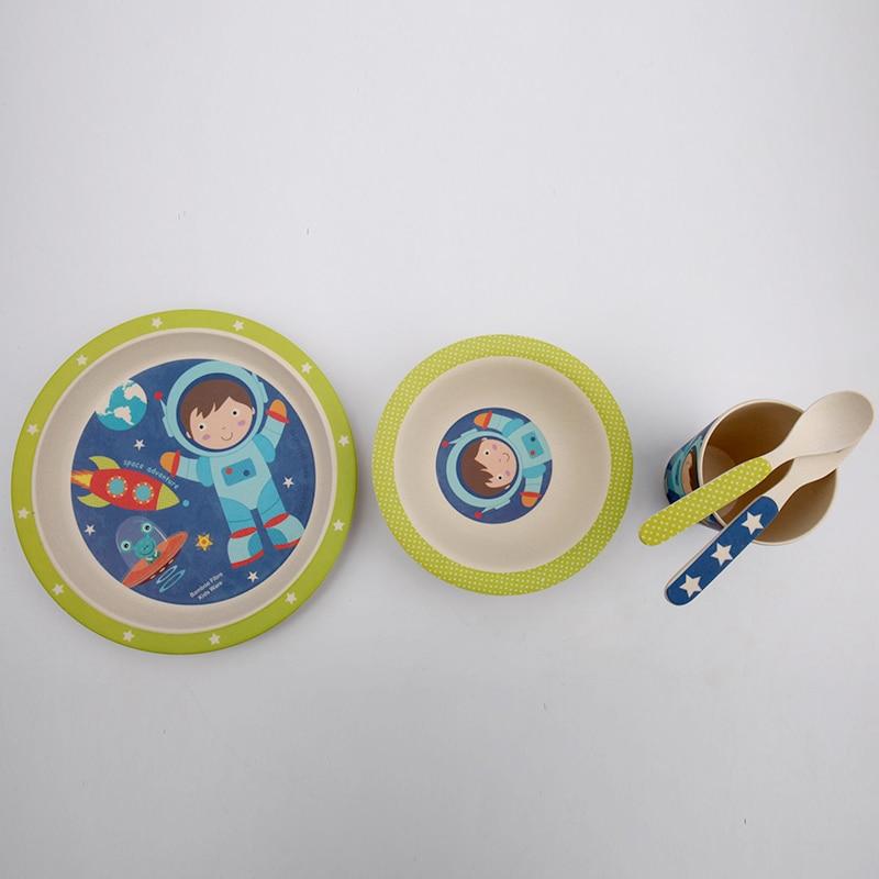 5 st / set babymatningssats med skål tallrikgaffel sked kopp servis - Äta och dricka - Foto 2