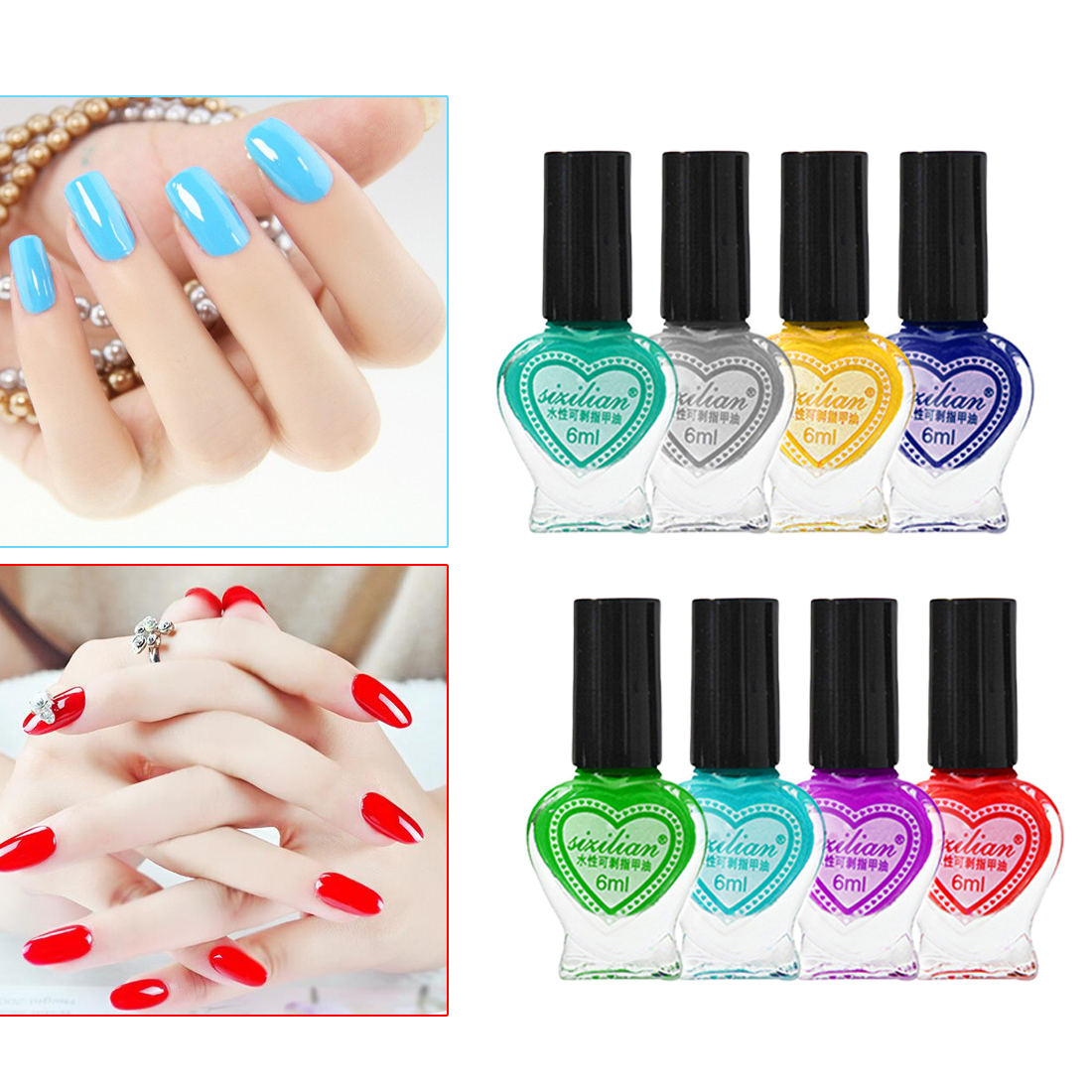 1 Bottle Water Base Nail Polish 6ml 24 Colors Pro Salon Eco No-toxic Peel Off Fast Dry Art Nails Paint Finger Tip Lacquer