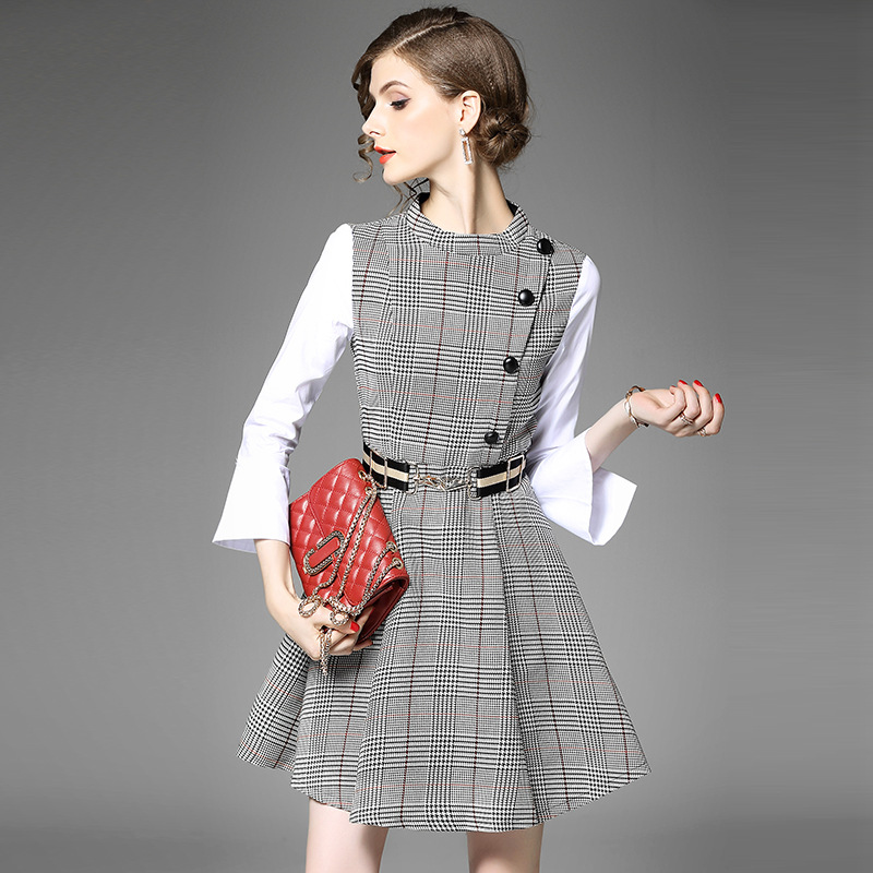 2017 Women s Autumn European And American Fashion Long Sleeve Plaid Stitching Dress girl fake two
