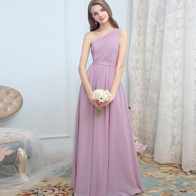 8d6502b13c163 BeryLove Lavender One Shoulder Evening Dress 2019 Long Prom Dress Light  Purple Long Formal Zipper Chiffon A line Party Gowns