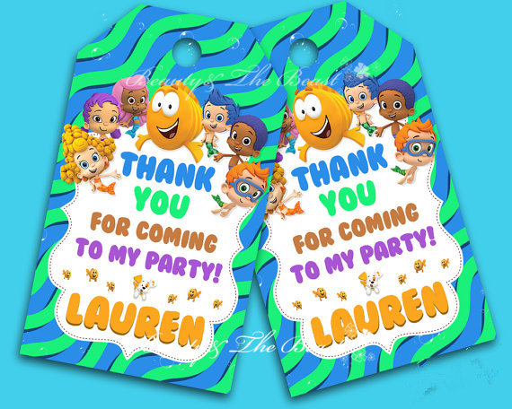Bubble Guppies Gift Favor TagsThank You TagsBirthday Party Decorations Kids Tags Goody Bag Baby Shower In DIY From Home