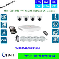 CCTV System 720P 4ch HD POE Fully NVR Kit POE Dome Camera 2T HDD 18M Cat5
