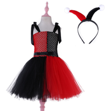 Harley Quinn Kids Party Dresses for Girls Tutu Dress with Headband Red Black Baby Birthday Children Halloween Costume Vestidos