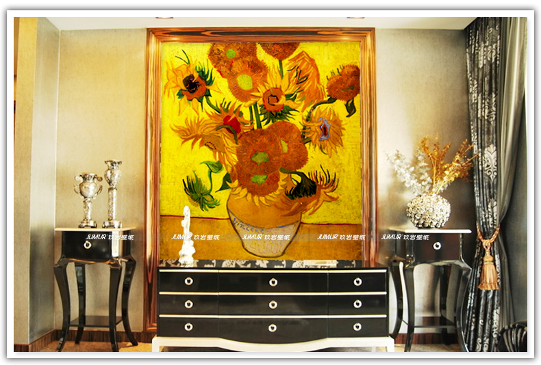 Us 1619 40 Offsłonecznik 3d Tapety Fototapety światowej Sławy Van Gogh Malowanie Mural Sypialnia Wystrój Pokoju Tv Tło Wall Art Tapety W Tapety Od