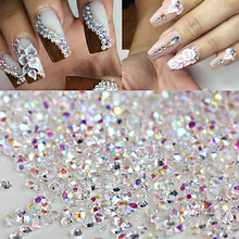 1 Bag 1000pcs/lot AB Color Clear Glass Crystal Rhinestone 1.2mm Nail Glitter Rhinestone Sticker Nail Art DIY Decoration