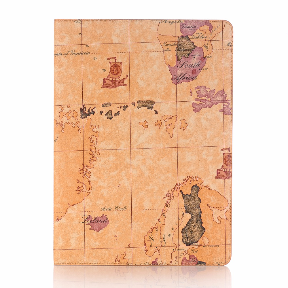 Dir-Maos For iPad Pro 12.9 inch Case Map Leather Smart Cover Folio Stand Holder Card Slot Wallet Photo Fashion Business HOT luxury cross pattern book cover card slot folio stand pu leather magnetic smart sleep case for apple ipad pro 12 9 inch tablet