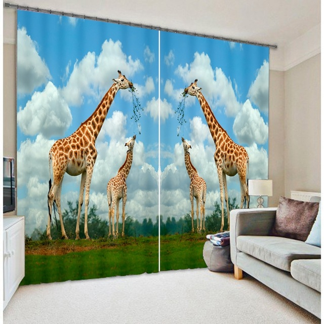 office drapes clinton giraffe animal 3d photo printing dimensional blackout curtains for living room bedding hoteloffice drapes cortinas parain from home garden