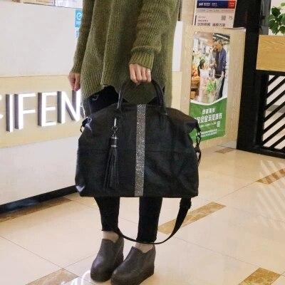 Nouveauté femmes grand casual noir fourre-tout sac à main femme souple en cuir pu grande capacité un sac à bandoulière diamant gland messenger sac - 2