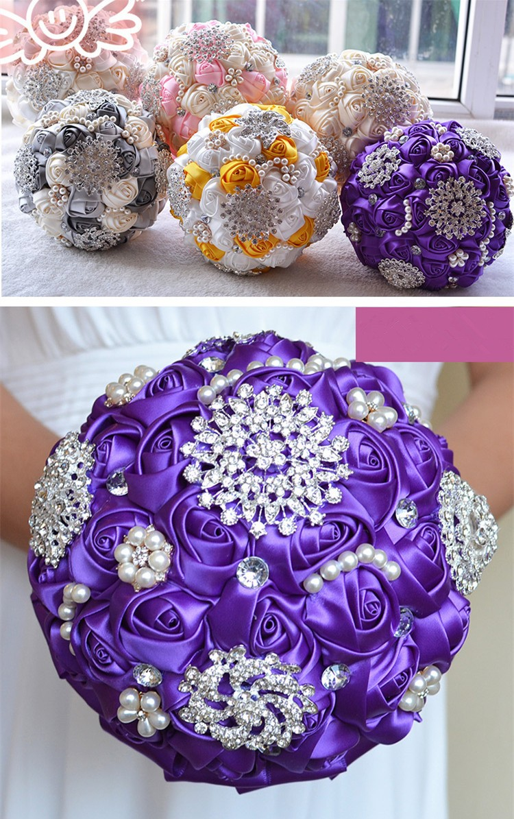 Handmade Artificial Flower Wedding Bouquets Purple Wedding Flowers Bridal Crystal Brooch Bouquets With Pearl Ramos De Novia  2