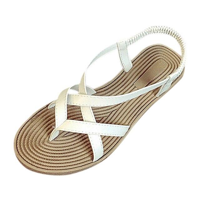 36f0e8a074176e Letnie damskie buty Płaskie Buty Bandaż Bohemia Rozrywka Pani Sandały  Peep-Toe sapato feminino gladiator