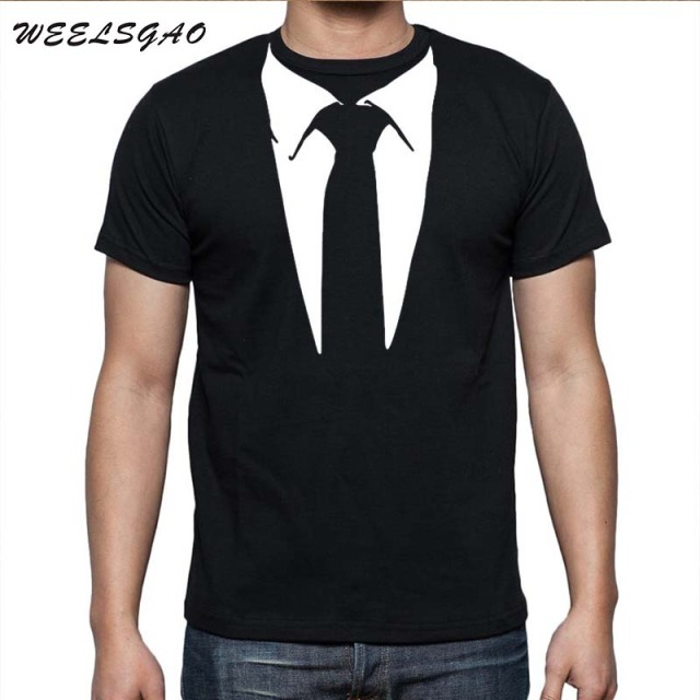 b044cb683 WEELSGAO New Novelty Men T Shirts Tuxedo Tees Retro Tie Funny Camisetas Men  O Neck Top Tshirt Casual Fitness Mens Clothing
