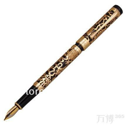 Fountain Pen Jinhao 5000 Dragon Year Golden with Black italic nib art fountain pen arabic calligraphy black pen line width 1 1mm to 3 0mm