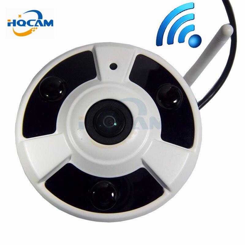HQCAM 1080P Indoor 180Degree Fisheye Panoramic Ip Camera 3pcs IR LED Split Screen onvif wifi ip camera wireless audio camera