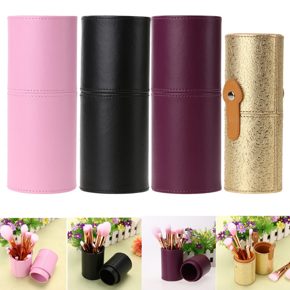 Portable Travel Empty Makeup Brushes Bag PU Leather Cosmetic Brush Holder Container Brushes Tube Cup Brush Bag Makeup Tools
