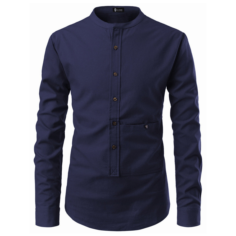 Solid Color Men Business Shirt Five Button Pullover Pocket Decoration Stand Collar Plus Size Long Sleeve Casual Men Shirt