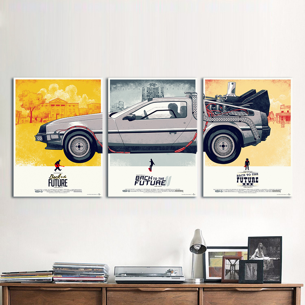 HDARTISAN Canvas Art Movie Poster 3 Pieces Back to the Future Phantom City Painting Home Decor Wall Pictures For Living Room ...