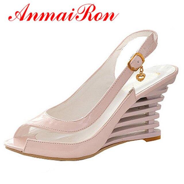ANMAIRON Estilo Fivela Do Dedo Do Pé Aberto Sapatos de Cunha Sandálias de Salto Mulheres transparentes Sapatos de Verão Patente PU Sexy Sapatos de Marca de Verão Mulher